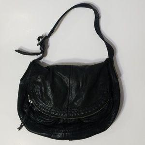 Lucky Brand Black Lambs Leather 'Vintage' Hobo Bag